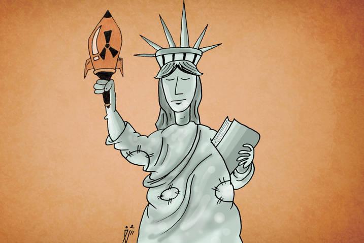 مجسمه آزادی امریکا از زاویه ای دیگر