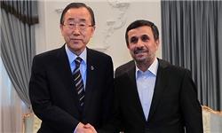 بانکیمون در دیدار با احمدینژاد:نقش مهم ایران در مسئله سوریه/ایران حق دارد از انرژی صلحآمیز هستهای استفاده کند