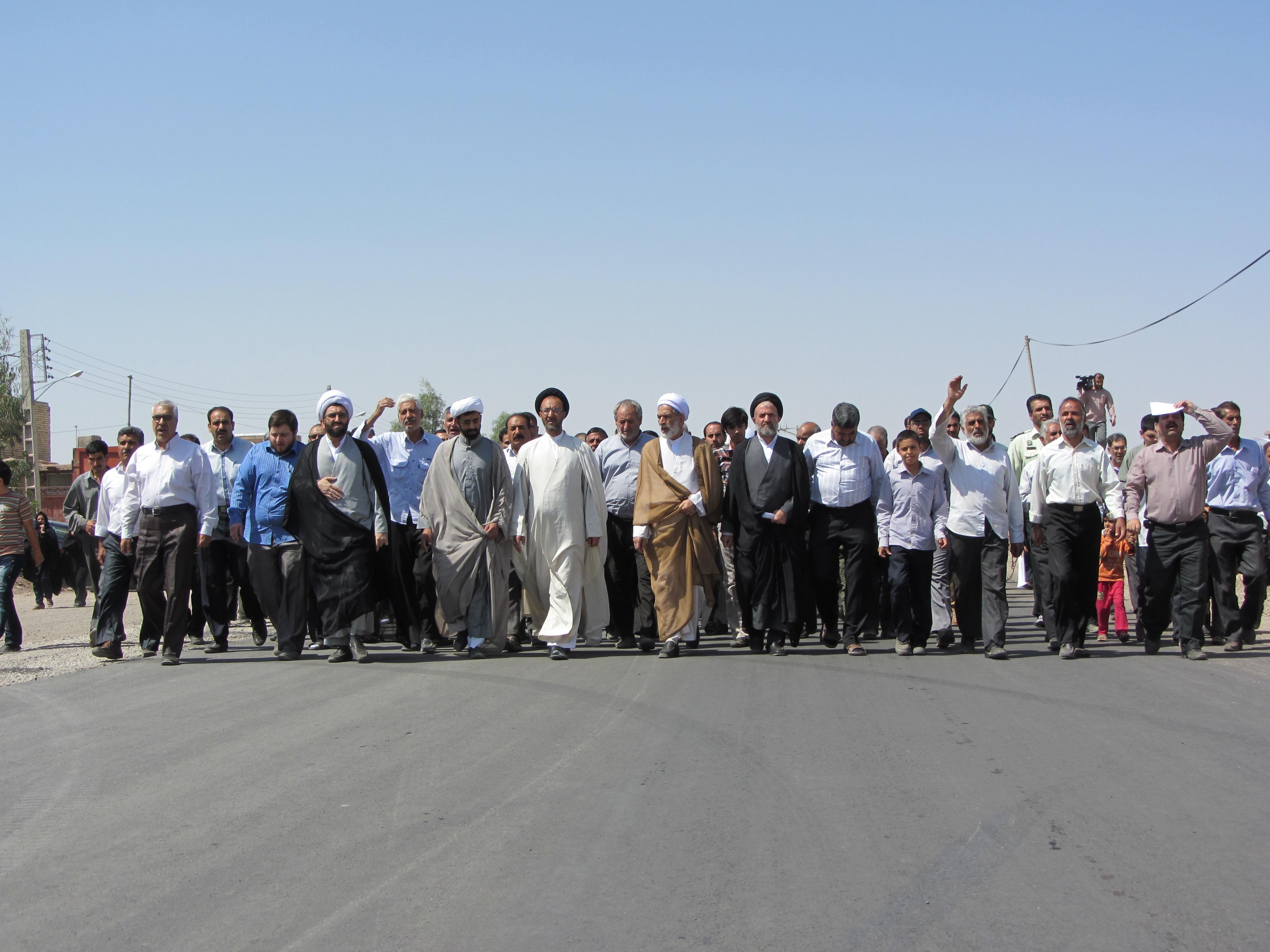 گزارش تصویری راهپیمایی نمازگزاران رفسنجانی در اعتراض به هتک حرمت پیامبر(ص)
