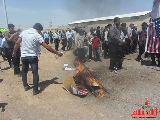 تصاویر به آتش کشیدن دجال زمانه در راهپیمایی روز قدس رفسنجان