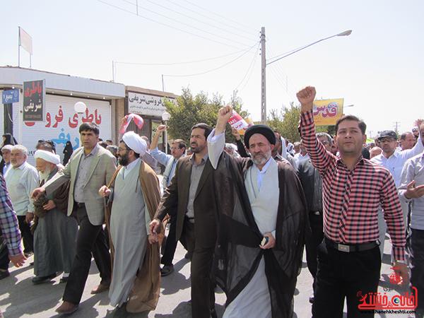 حضور مسئولین و مردم رفسنجان در راهپیمایی روز قدس در دفاع از مردم غزه