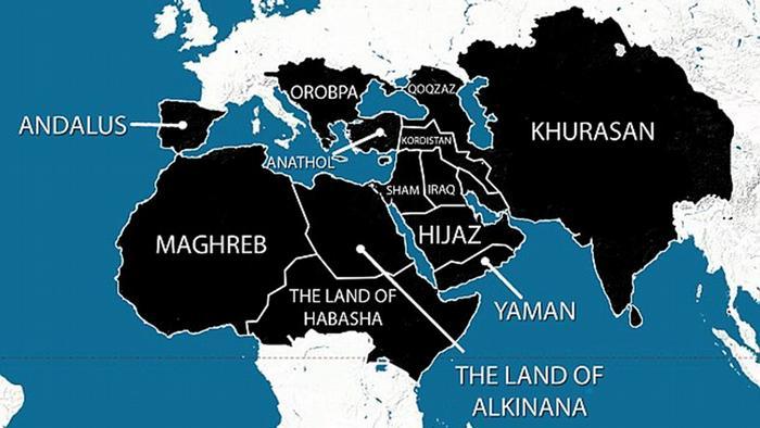 سه تیکه شدن ایران در نقشه داعش/ عکس