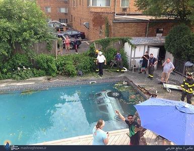 عکس/سقوط ماشین به استخر