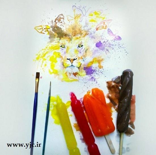 نقاشی های شگفت انگیز با بستنی آب شده +عکس