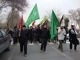 پیاده روی اربعین حسینی با حضور کاروان رهپویان کربلا در رفسنجان