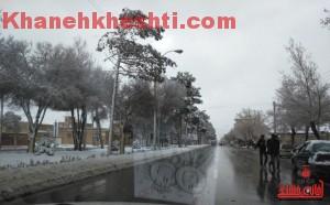 برف زمستانی-خانه خشتی