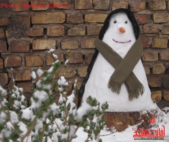 سومین برف زمستان بر سر رفسنجان بارید