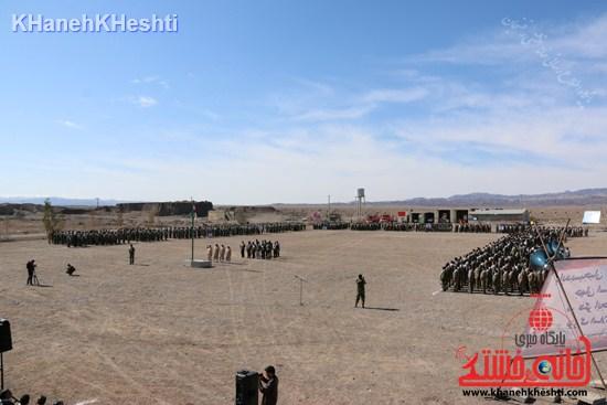 رزمایش محمد رسول الله در اردوگاه شهید میرافضلی رفسنجان ۱۳۹۳ صبحگاه مشترک (۱۴)