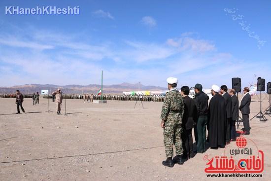 رزمایش محمد رسول الله در اردوگاه شهید میرافضلی رفسنجان ۱۳۹۳ صبحگاه مشترک (۳)