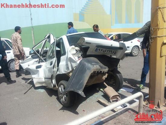 برخورد خودروی پراید با گاردریل در زیر گذر رفسنجان حادثه آفرید