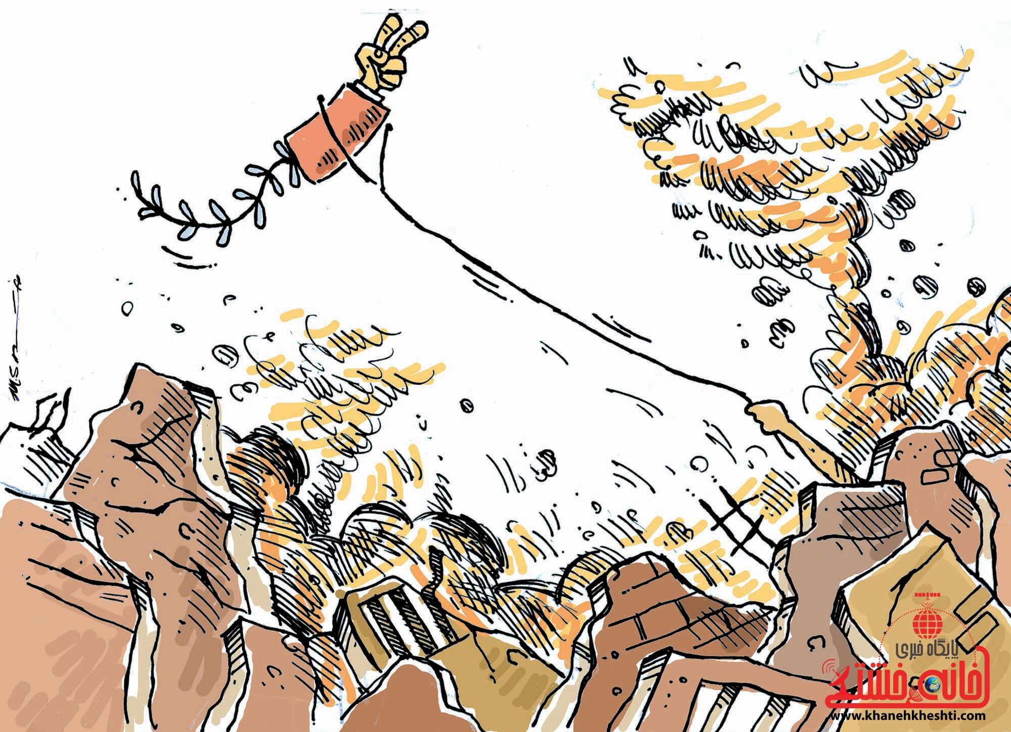کارتون/ اعلام آتش بس و پیروزی یمن در جنگ ۲۷ روزه