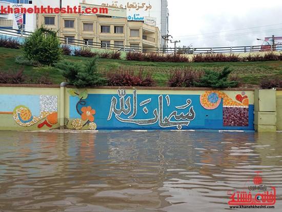 باران اردیبهشتی و آب گرفتگی معابر رفسنجان + عکس