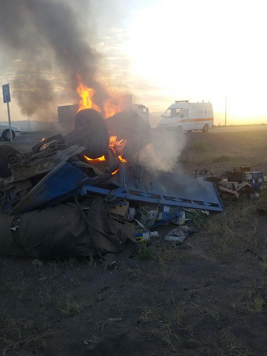 راننده وانت در آتش سوخت