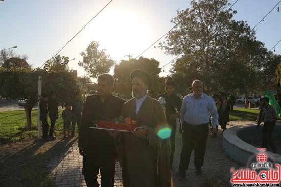 پرچم حرم امام حسین(ع) بر فراز گنبد مسجد صاحب الزمان (عج)هیئت کاظمیه رفسنجان (۱)