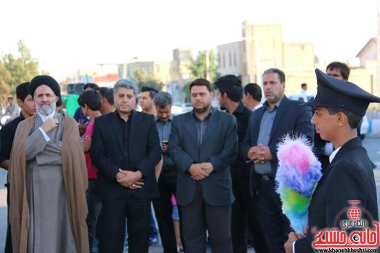 پرچم حرم امام حسین(ع) بر فراز گنبد مسجد صاحب الزمان (عج)هیئت کاظمیه رفسنجان (۱۰)
