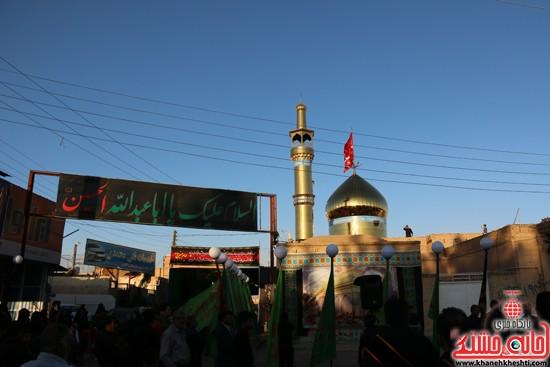 پرچم حرم امام حسین(ع) بر فراز گنبد مسجد صاحب الزمان (عج)هیئت کاظمیه رفسنجان (۱۴)