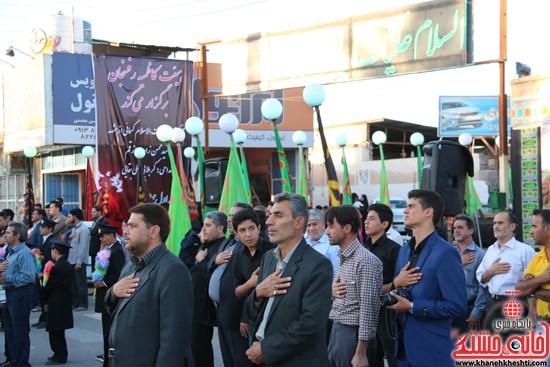 پرچم حرم امام حسین(ع) بر فراز گنبد مسجد صاحب الزمان (عج)هیئت کاظمیه رفسنجان (۱۶)