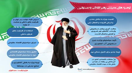 توصیه های معیشتی رهبر انقلاب به مسئولین