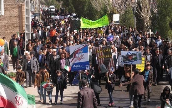 تصاویر/ راهپیمایی یوم الله ۲۲ بهمن در شهر بهرمان