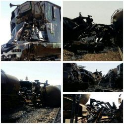 برخورد دو قطار باری درایستگاه احمد آباد رفسنجان / عکس