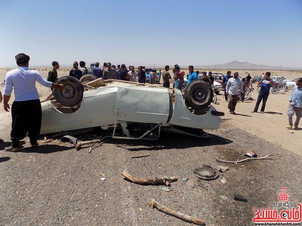 کشته و زخمی شدن 4 نفر در برخورد دو خودروی سواری در شمس آباد نوق