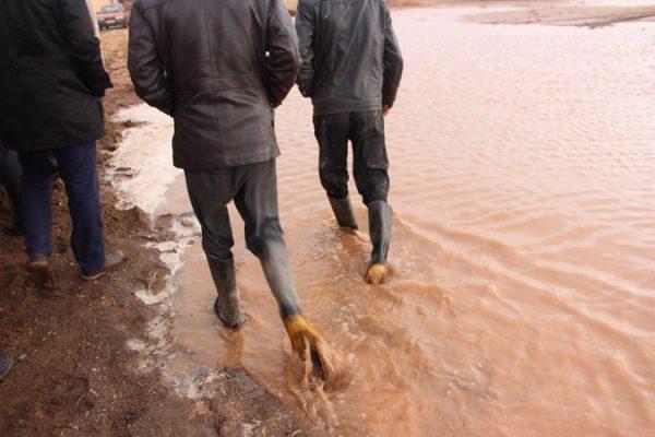 جاری شدن سیل در روستای ناصریه رفسنجان