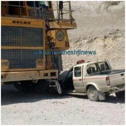 برخورد کامیون حمل بار در معدن مس سرچشمه با یک دستگاه خودرو سبک + عکس