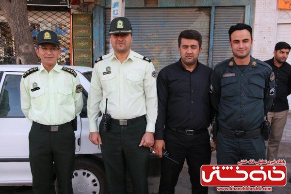 حضور چشمگیر پرسنل نیروس انتظامی در مراسم تجمع هیئت های عزاداری در میدان ابراهیم رفسنجان