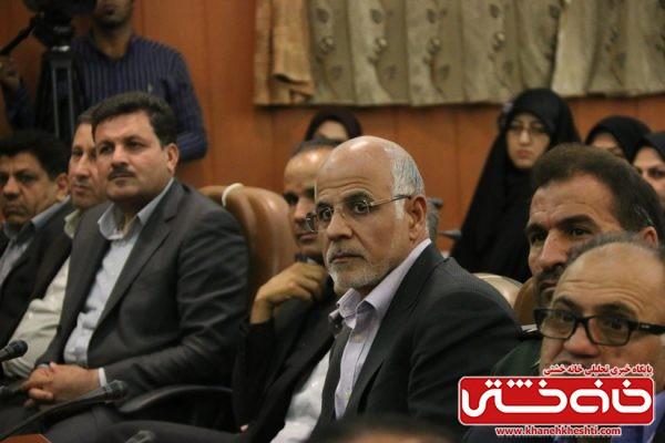 حسنی مدیر عامل مس منطقه کرمان در رفسنجان در مراسم تودیع و معارفه فرماندار رفسنجان در محل فرمانداری رفسنجان