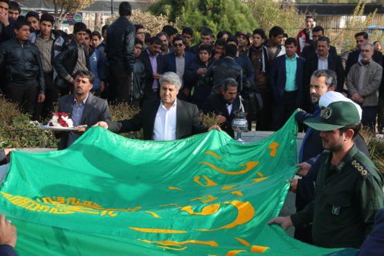 پرچم میدان قدس رفسنجان تعویض شد / عکس
