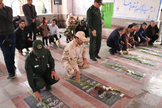 به مناسبت هفته بسیج گلزار شهدا غبارروبی شد / تصاویر