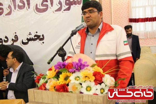 رضا فلاح رئیس جمعیت هلال احمر استان کرمان در جلسه شورای اداری شهرستان رفسنجان در بخش فردوس