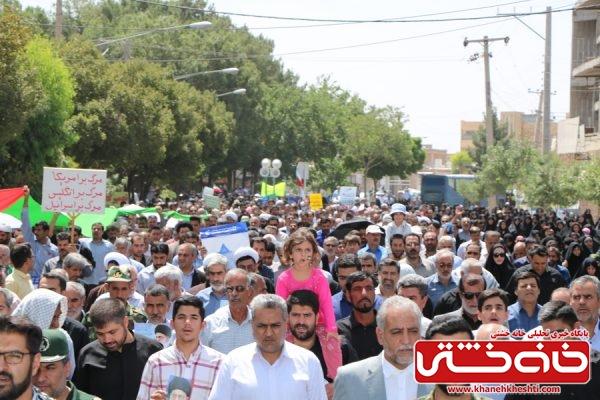 شرکت مردم روزهدار و همیشه در صحنه رفسنجان در مراسم راهپیمایی روز جهانی قدس در آخرین جمعه ماه مبارک