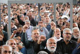 طنینانداز شدن شعارهای ضدآمریکایی و صهیونیستی در نماز جمعه رفسنجان در پی ترور سردار سلیمانی+ فیلم