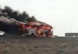 آتش گرفتن اتوبوس مسافربری در کمربندی رفسنجان + فیلم