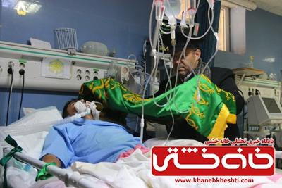 خدام حرم رضوی از بیماران رفسنجانی عیادت کردند+عکس