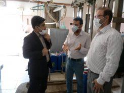 بازدید از روند تولید الکل و مواد ضد عفونی از دو کارخانه در منطقه ویژه اقتصادی و شهرک صنعتی رفسنجان