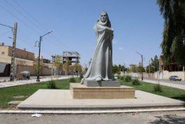 مجسمه مادر سربلند از تالار خیام دانشگاه ولی عصر (عج ) رفسنجان بیرون آمد